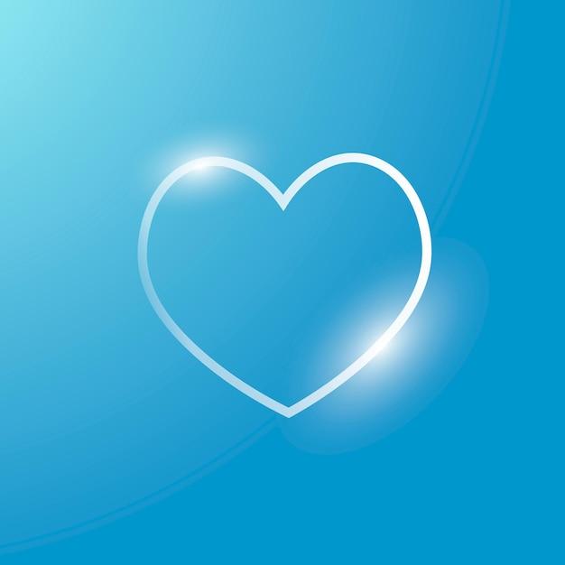 Icono de tecnología de vector de corazón en plata sobre fondo degradado