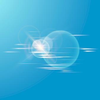 Icono de tecnología de vector de destello de lente en blanco sobre fondo degradado