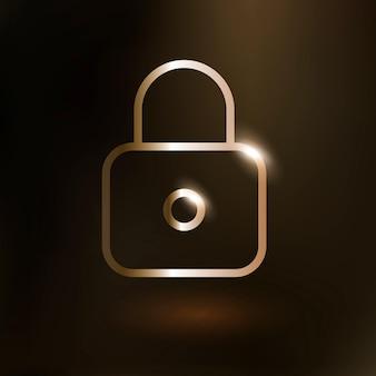 Icono de tecnología de vector de función de bloqueo en oro sobre fondo degradado