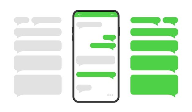 Icono de teléfono inteligente con cuadros de diálogo en blanco