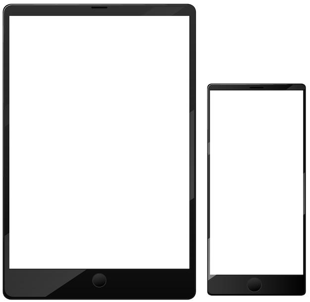 Icono de teléfono inteligente y tableta de pantalla en blanco aislado sobre fondo blanco