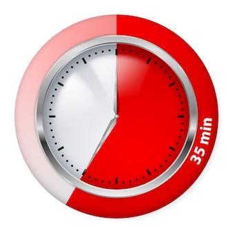 Icono de temporizador rojo. treinta y cinco minutos. ilustración en blanco.
