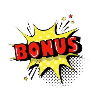 Icono de texto de estilo de arte pop de burbuja de chat bono cómico