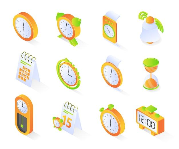 Icono de tiempo o reloj con paquete o conjuntos de estilo isométrico vector premium moderno