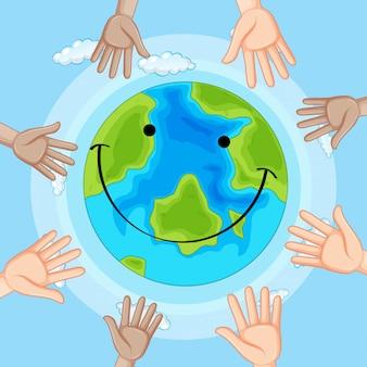 Icono de la tierra la emoción de la sonrisa
