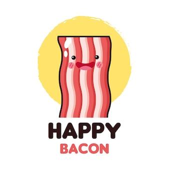 Icono de tocino feliz y comida kawaii