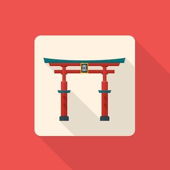 Icono de torii de puerta de japón tradicional con sombra