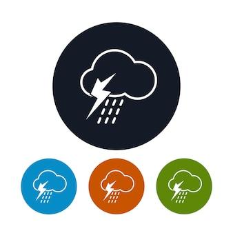 Icono de tormenta, los cuatro tipos de coloridos iconos redondos nube con t-storms, símbolo del tiempo, ilustración vectorial