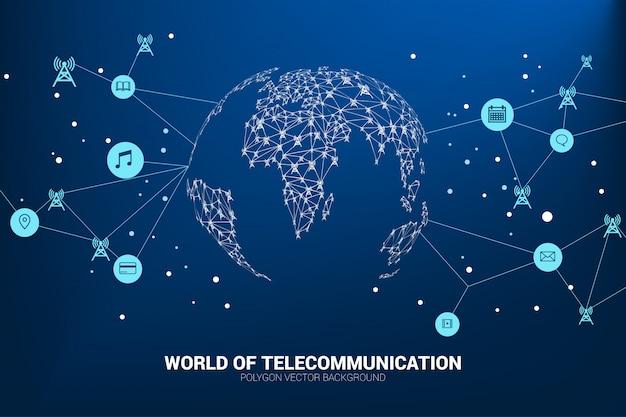 El icono de la torre de la antena del vector polygon conecta la línea a la forma del mapa del mundo.