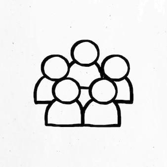 Icono de trabajo en equipo dibujado a mano