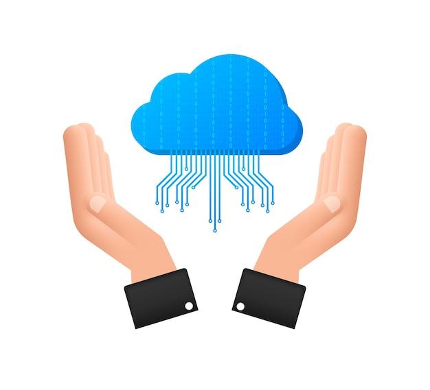 Icono de transferencia de archivos ftp en las manos. icono de la tecnología ftp. transferir datos al servidor. ilustración vectorial.