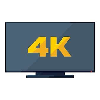 Icono de tv plana con signo 4k dorado en la pantalla