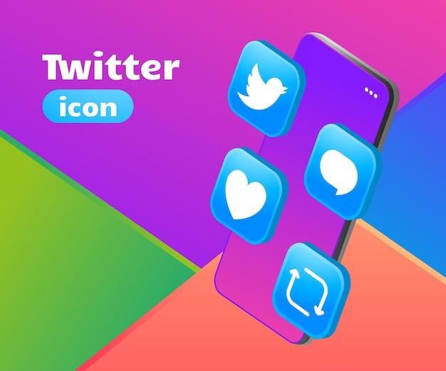 Icono de twitter logo 3d con smartphone