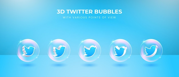 Icono de twitter de redes sociales 3d con varios puntos de vista