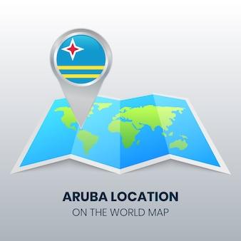 Ícono de ubicación de aruba en el mapa mundial