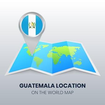 Ícono de ubicación de guatemala en el mapa mundial