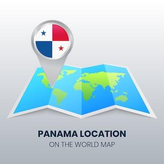 Ícono de ubicación de panamá en el mapa mundial