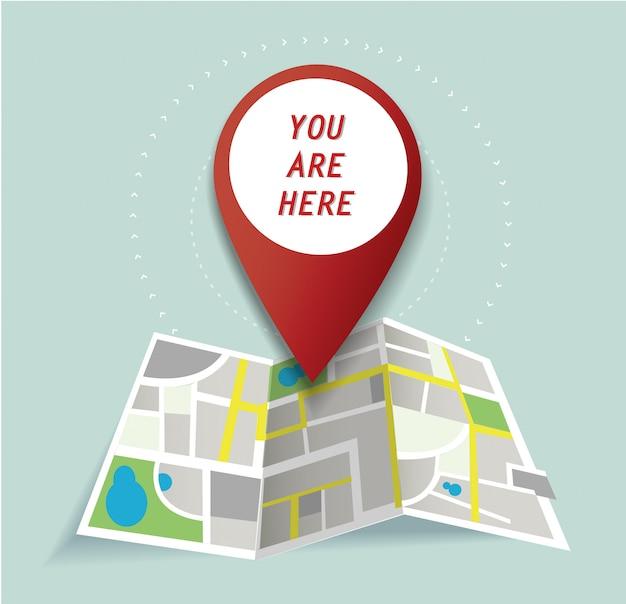 Icono de ubicación de pin y mapa
