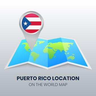 Ícono de ubicación de puerto rico en el mapa mundial