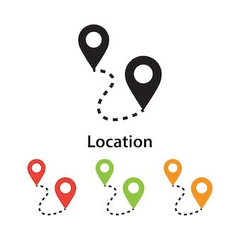 Icono de ubicación sobre fondo blanco con diferentes colores.