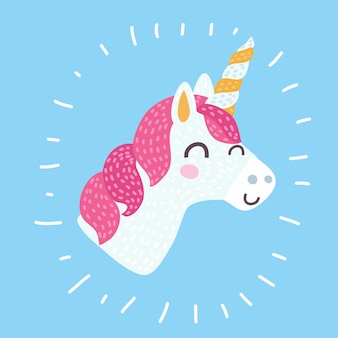 Icono de unicornio en blanco. etiqueta engomada del caballo del retrato de la cabeza, insignia del parche. animal lindo de la fantasía de la historieta mágica linda. cuerno arcoíris, cabello rosado. símbolo de sueño. para niños