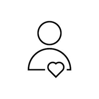 Icono de usuario de línea delgada con corazón. concepto de amistad, asistencia, trabajo en equipo, consultor, regalo, confesión, avatar. aislado sobre fondo blanco. ilustración de vector de diseño de logotipo moderno de tendencia de estilo lineal