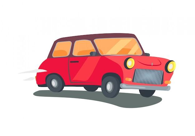 Icono de vagón rojo retro de dos puertas