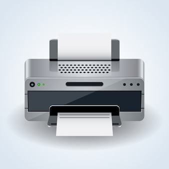 Icono de vector 3d realista moderna impresora de escritorio sobre fondo blanco