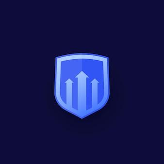 Icono de vector de aumento de seguridad para web