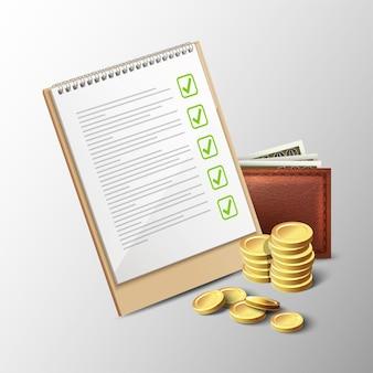 Icono de vector de billetera de cuaderno de presupuesto y monedas de oro