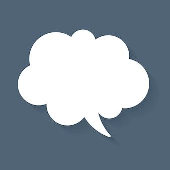 Icono de vector de burbuja de discurso de anuncio, diseño plano blanco