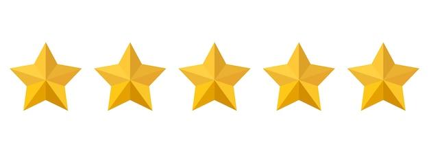 Icono de vector de calificación de cinco estrellas