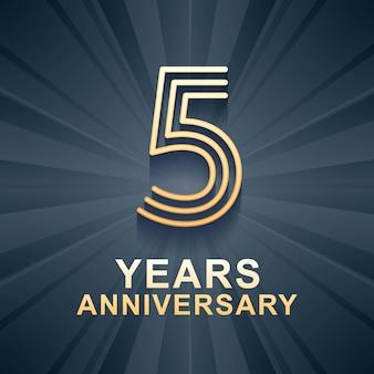 Icono de vector de celebración de aniversario de 5 años, logo. elemento de diseño de plantilla con edad de color dorado para tarjeta de quinto aniversario