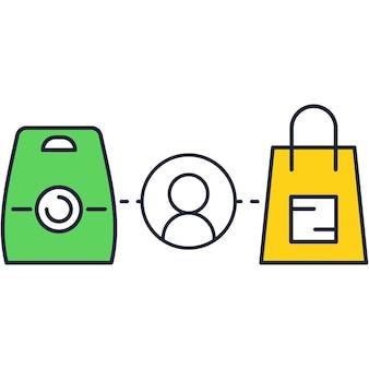 Icono de vector de cliente comercial aislado en blanco