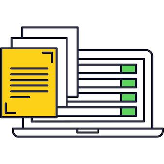 Icono de vector de creación de blog y gestión de contenido