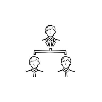 Icono de vector de doodle de contorno dibujado de mano de jefe. una posición de jefe en la ilustración de boceto de escalera de carrera para impresión, web, móvil e infografía aislado sobre fondo blanco.