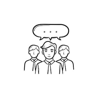 Icono de vector de doodle de contorno dibujado de mano de trabajo en equipo de personas. colaboración de personas en la ilustración de boceto de equipo para impresión, web, móvil e infografía aislado sobre fondo blanco.