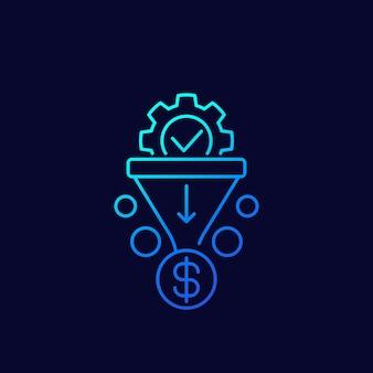 Icono de vector de embudo de ventas, lineal