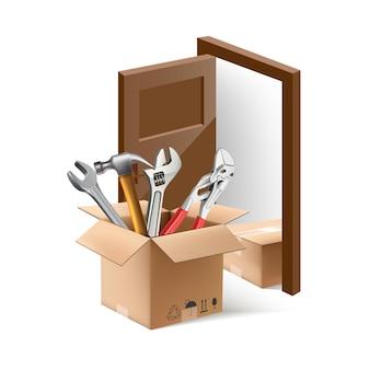 Icono de vector de entrega a la puerta y montaje