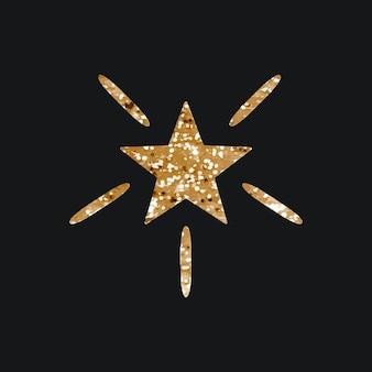Icono de vector de estrellas brillantes con textura brillo sobre fondo negro