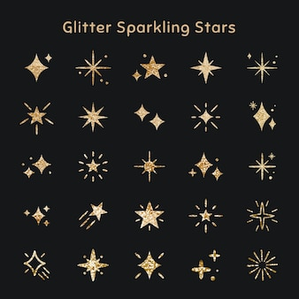 Icono de vector de estrellas brillantes con textura brillo