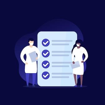 Icono de vector de examen médico, médicos y lista de verificación