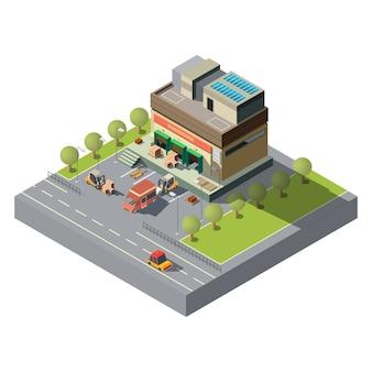 Icono de vector isométrico de almacén de empresa postal
