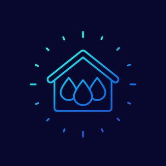 Icono de vector de línea de casa y agua