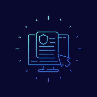 Icono de vector de línea de póliza de seguro