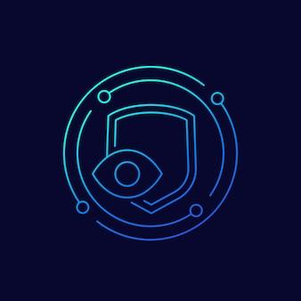 Icono de vector de línea de privacidad, ojo y escudo
