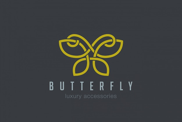 Icono de vector lineal de logotipo de joyería de mariposa