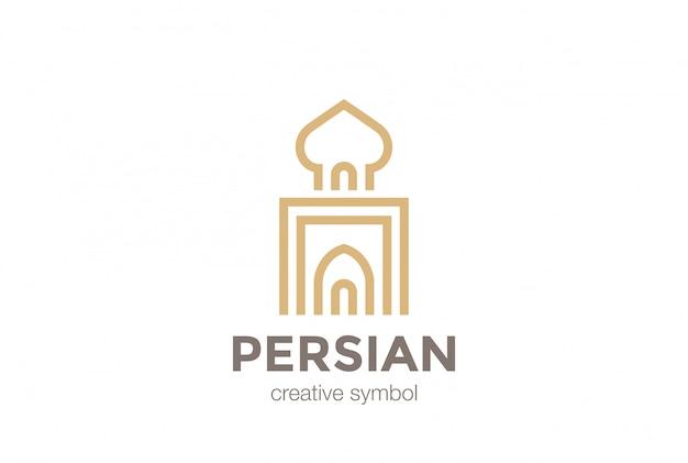 Icono de vector de logo de arquitectura árabe persa.