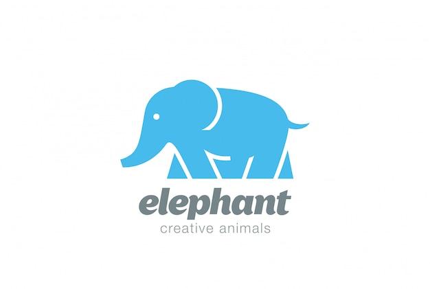 Icono de vector de logo de elefante caminando