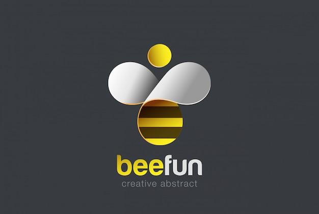 Icono de vector de logotipo de abeja.